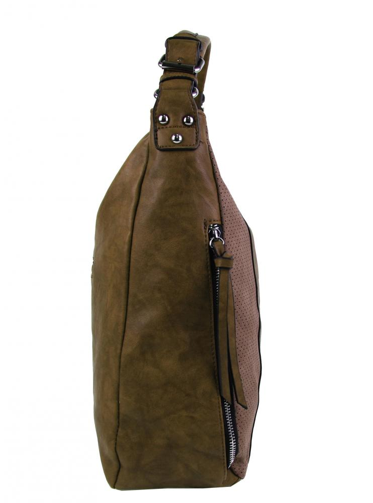 Moderná veľká hnedá dámska kombinovaná kabelka YH1649
