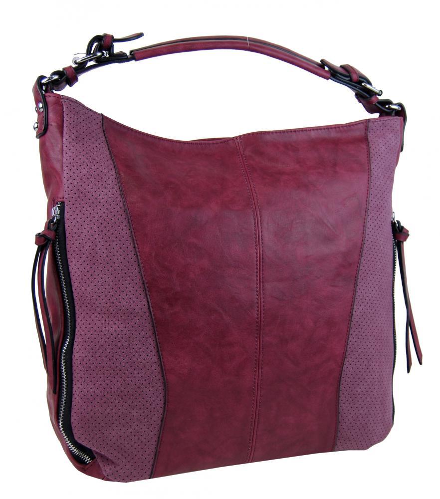 Moderná veľká vínová dámska kombinovaná kabelka YH1649