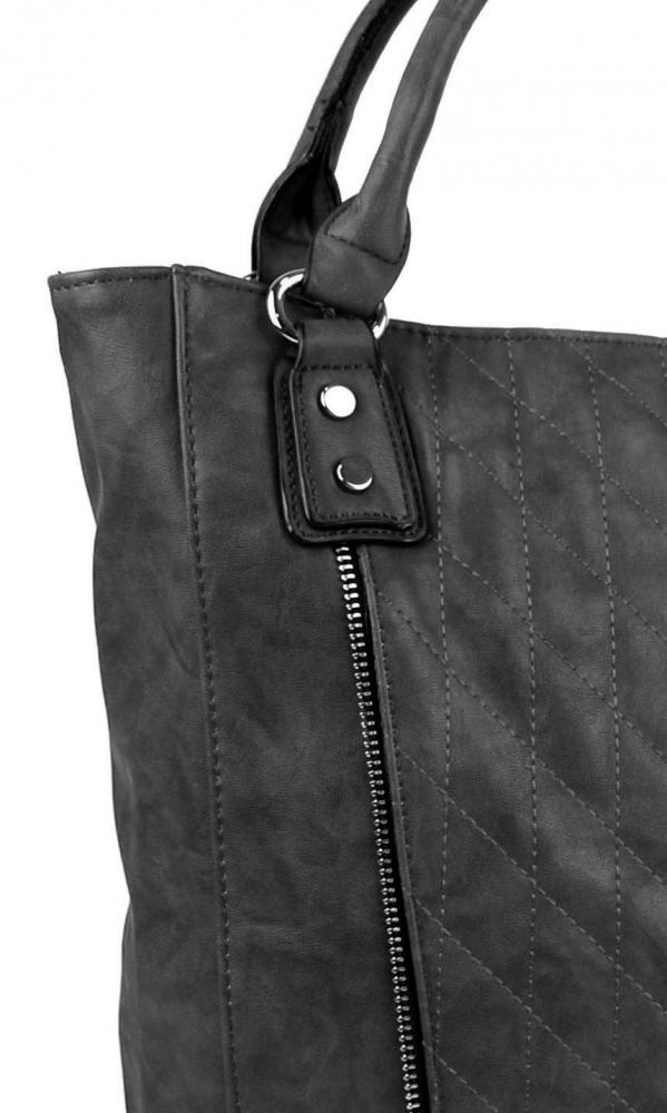 Moderná veľká sivá dámska prešívaná kabelka cez plece YH1651