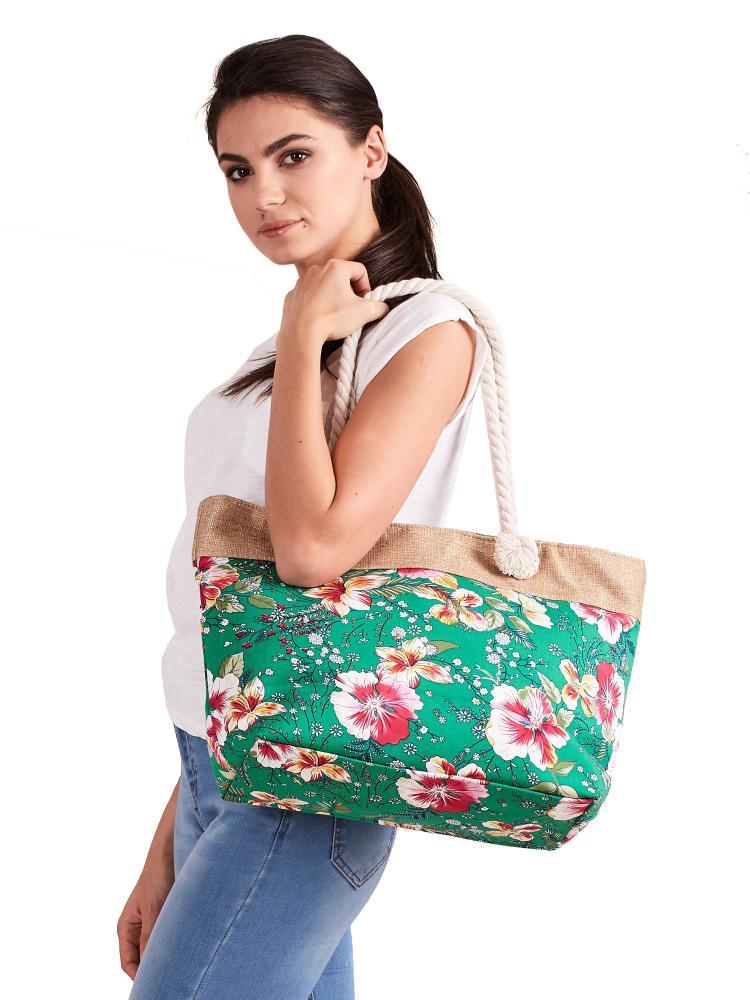 Letná ľahká plážová taška zelená s kvietkami SP-A