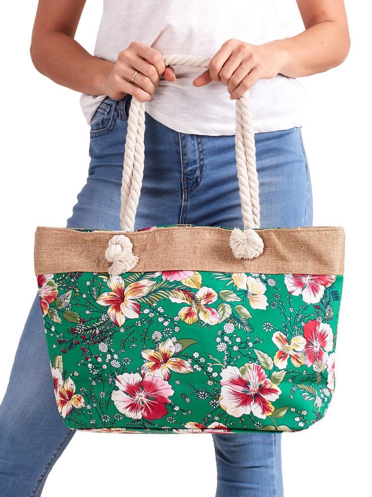CAVALDI Plážová taška zelená s motivem květin