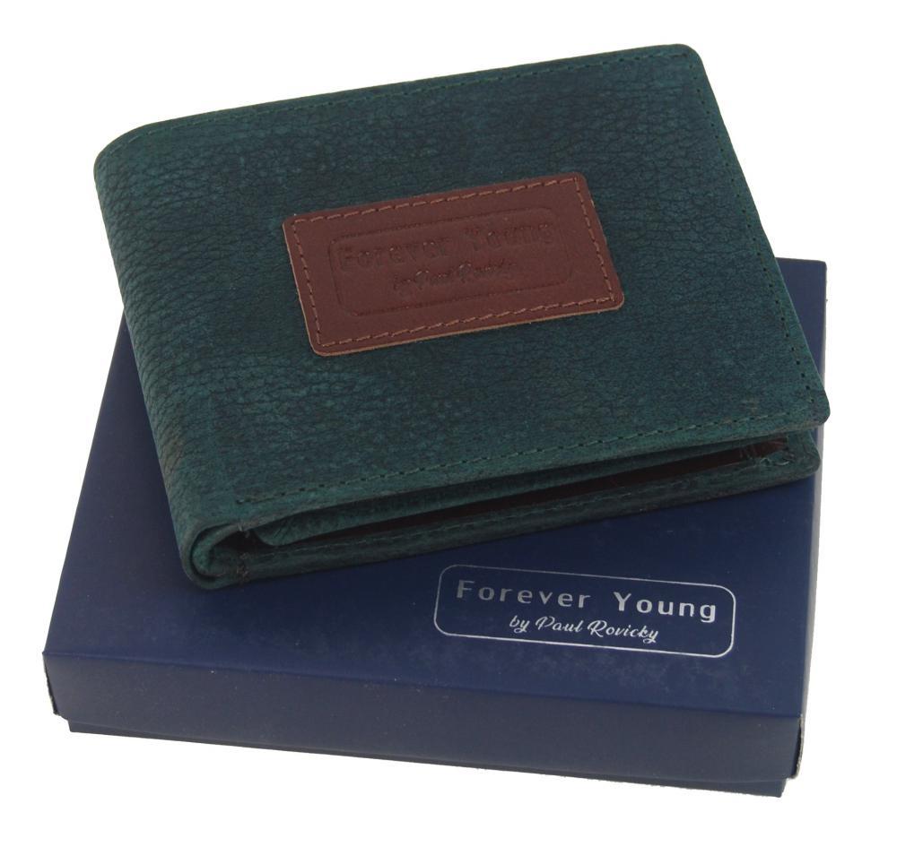 Zelená pánska kožená peňaženka v krabičke RFID Forever Young