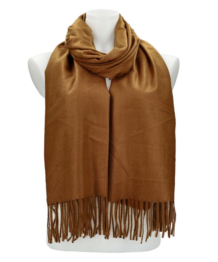 Hnedý teplý dlhý zimný šál 205x71 cm