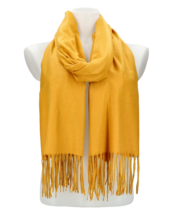 Horčicovo žltý teplý dlhý zimný šál 205x71 cm