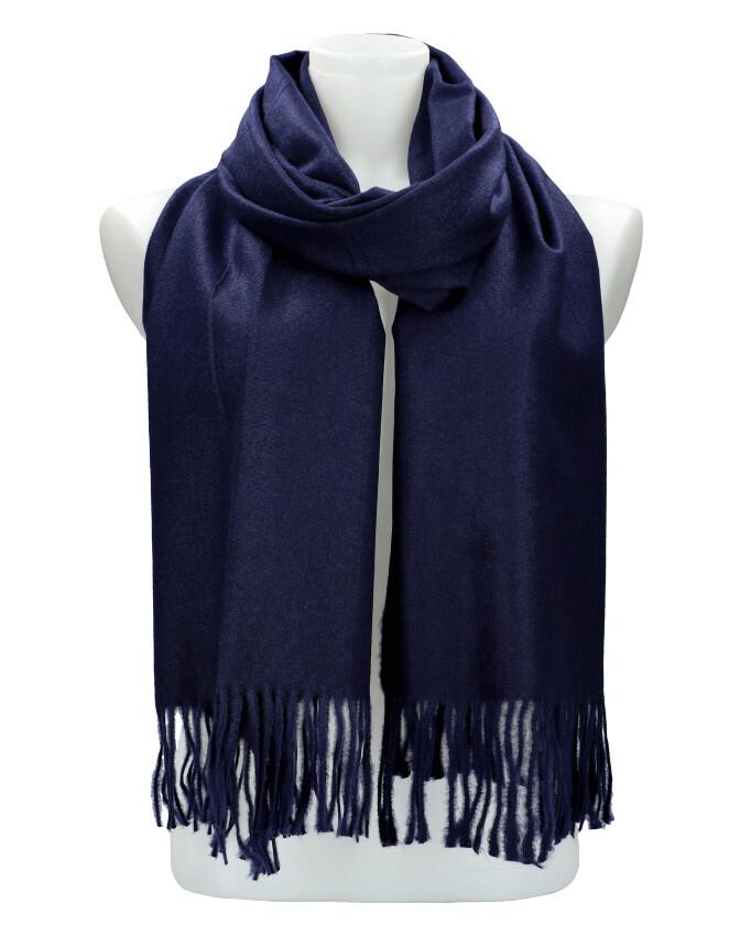 Tmavě modrá teplá dlouhá zimní šála 205x71 cm