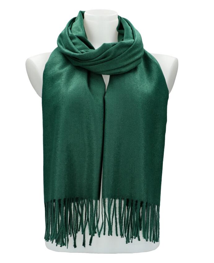 Smaragdovo zelený teplý dlhý zimný šál 205x71 cm