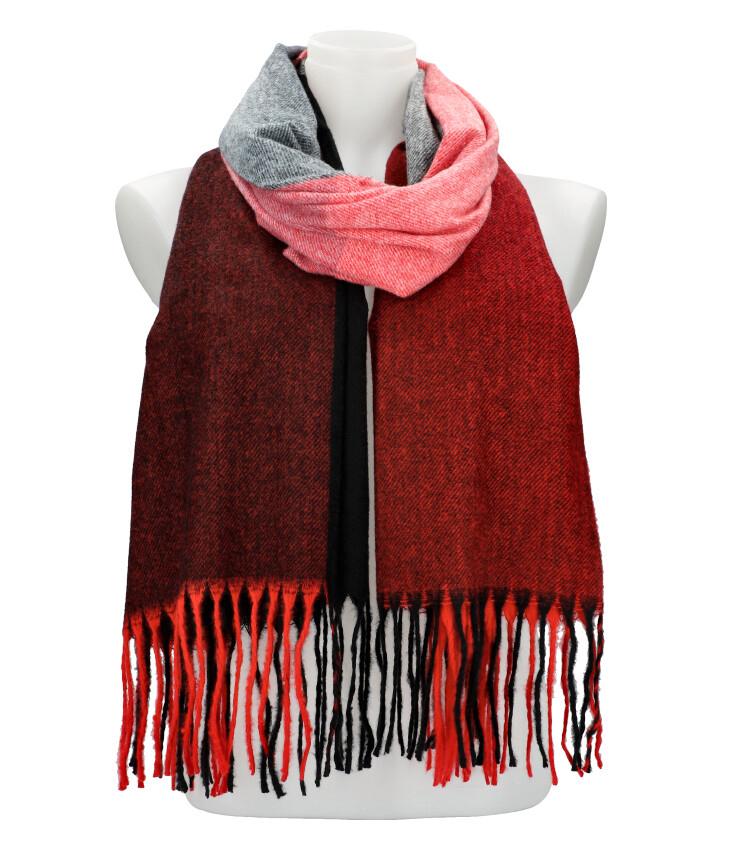 Farebný červený teplý dlhý zimný šál 207x65 cm