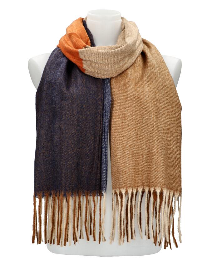 Farebný hnedý teplý dlhý zimný šál 207x65 cm
