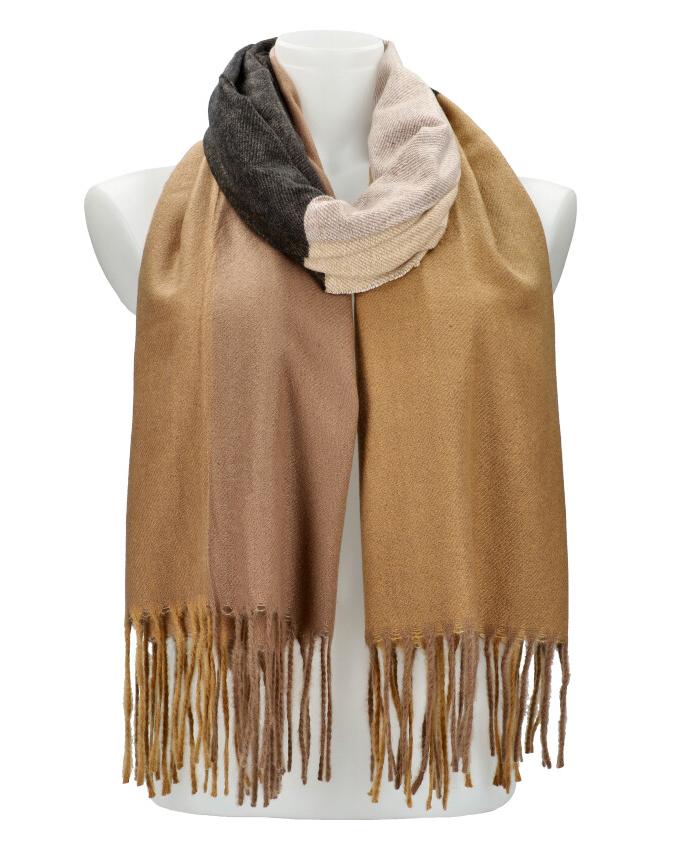 Farebný pieskový teplý dlhý zimný šál 207x65 cm