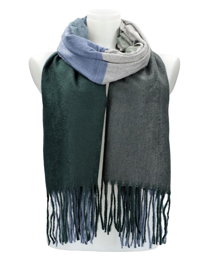 Farebný smaragdovo zelený teplý dlhý zimný šál 207x65 cm