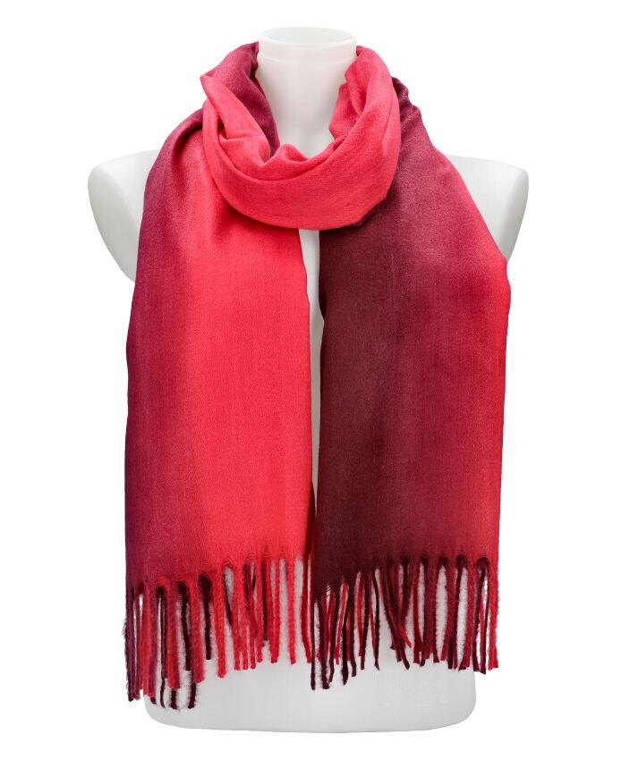 Žíhaný červený teplý dlhý zimný šál 200x65 cm