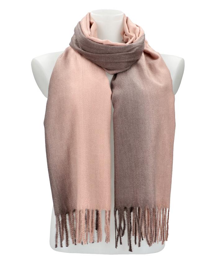 Žíhaný ružovošedý teplý dlhý zimný šál 200x65 cm