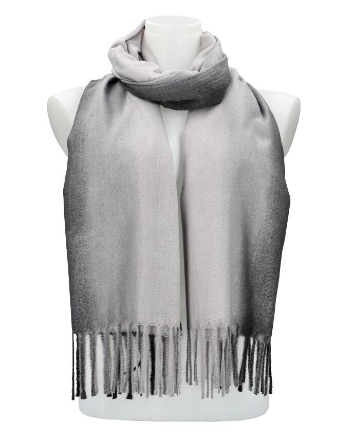 Žíhaná šedá teplá dlouhá zimní šála 200x65 cm