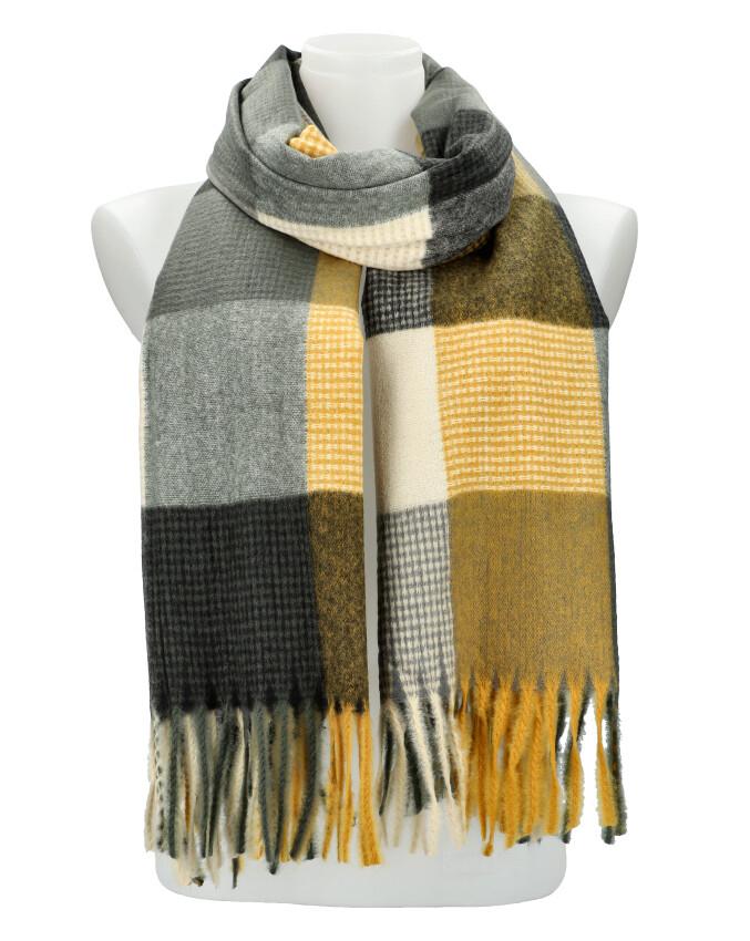 Farebný žlto-šedý teplý dlhý zimný šál 202x67 cm
