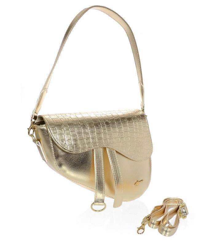 Luxusní zlatá crossbody kabelka s kroko vzorem M301 GROSSO