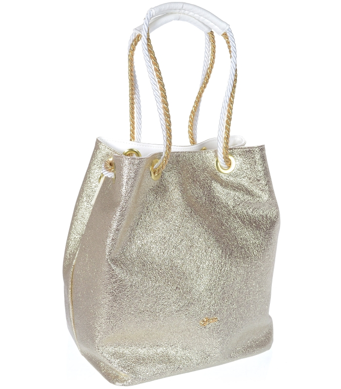Zlatá kabelka s lanovými držadly S760 GROSSO