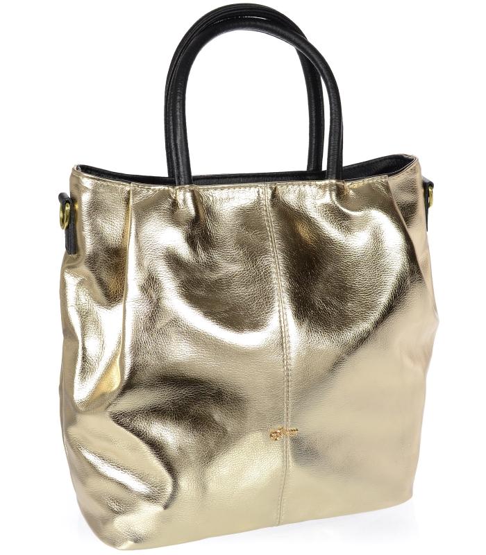 Zlatá prostorná dámská kabelka S737 GROSSO