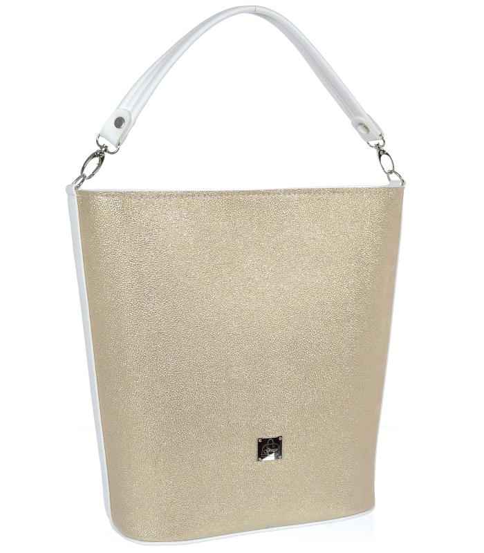 Zlatá / bílá velká dámská kabelka S583 GROSSO