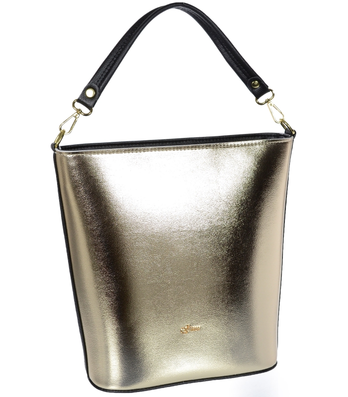 Zlatá velká dámská kabelka s černým lemem S583 GROSSO