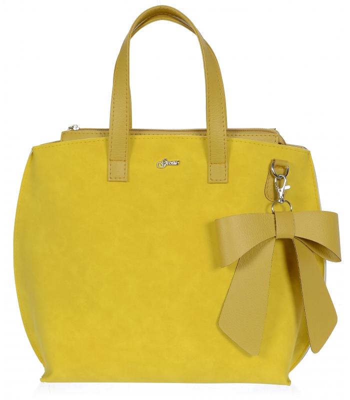 Žlutá dámská kabelka s mašlí S739 GROSSO