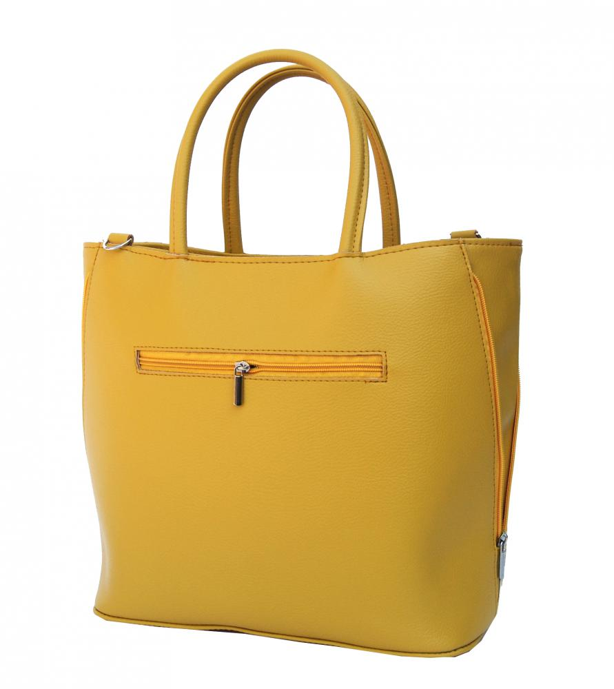Žlutá dámská shopper kabelka s kroko vzorem S585 GROSSO