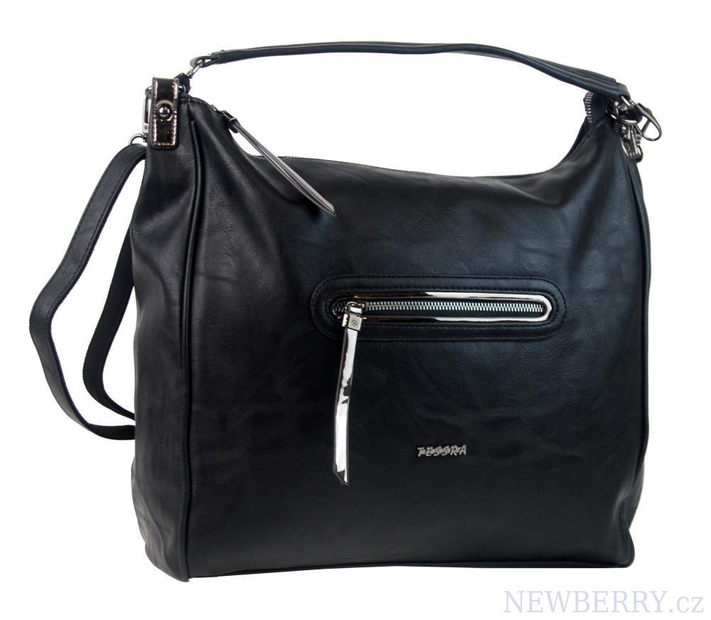 6045d2c4c1 Velká černá dámská kabelka přes rameno TESSRA   NEWBERRY ...